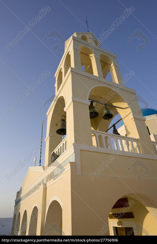 griechenland, santorin, thira, oia., gelbe, fassade, und, glockenturm, der - 27756906