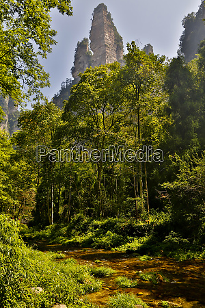 mountain landscape with pinnacles from yellow