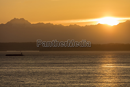 sunset over puget sound and the