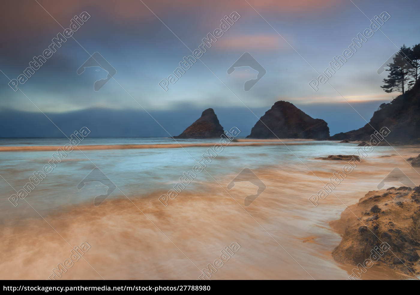 usa, oregon, florenz., sonnenaufgang, am, heceta, beach., bild: - 27788980