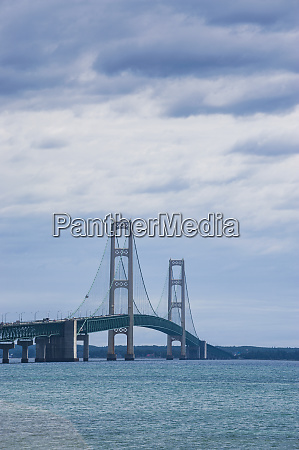 mackinac bridge over the shores of