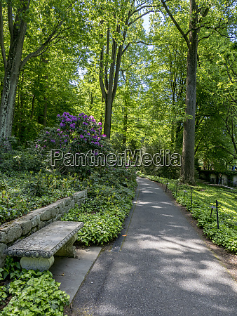 usa pennsylvania walkway and bench in