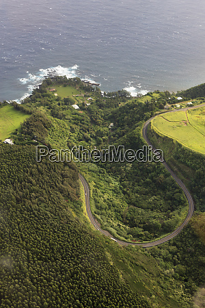 aerial of hamakua coast hawaii usa