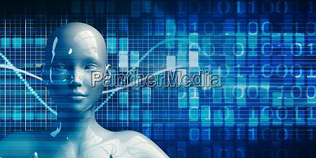 female robot using data analytics technology