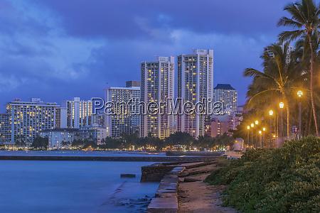 usa hawaii oahu honolulu twilight waikiki