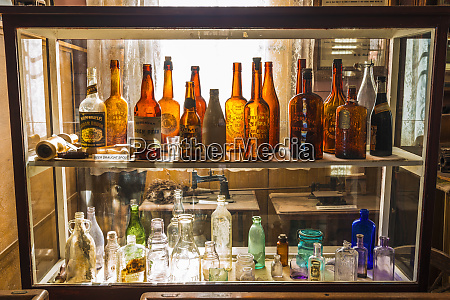 colored bottles in the bodie museum