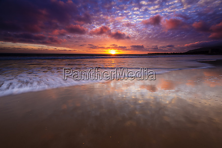 sunset over the channel islands from
