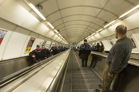 czech republic prague people on escalators