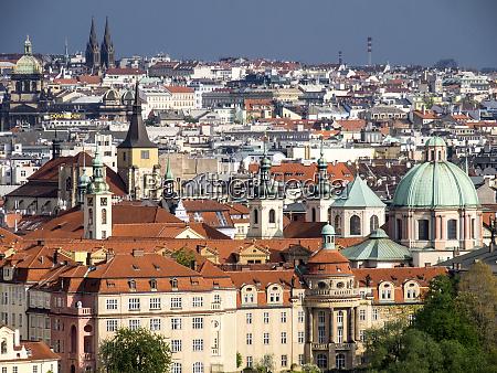 czech republic prague rooftops as seen