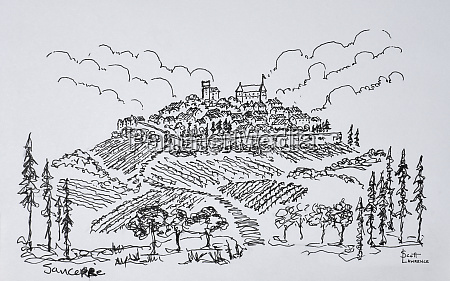 walled city of sancerre surrounded by