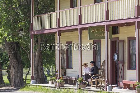 canada british columbia people on porch