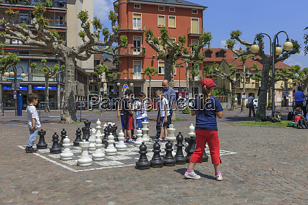 chess board lake orta piedmont italy
