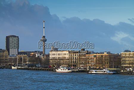 netherlands rotterdam city skyline along the