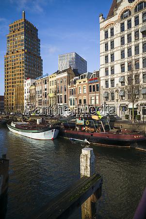 netherlands rotterdam wijnhaven harbor and buildings