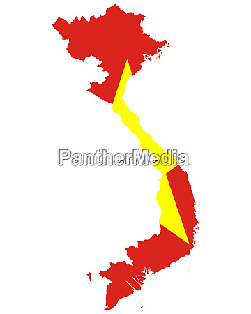 fahne in landkarte von vietnam