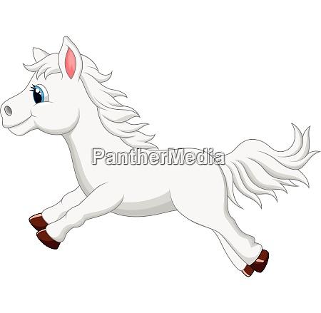 weisses pferd cartoon laeuft
