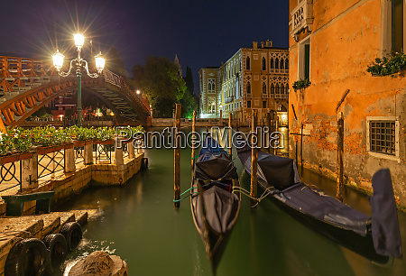 parked gondolas at grand canal in