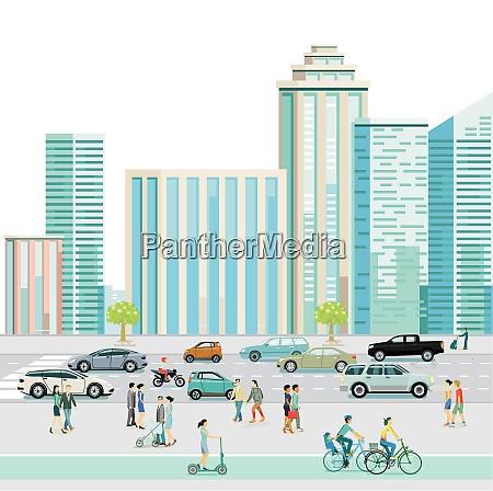 stadtzentrum mit fussgaengern und autos auf
