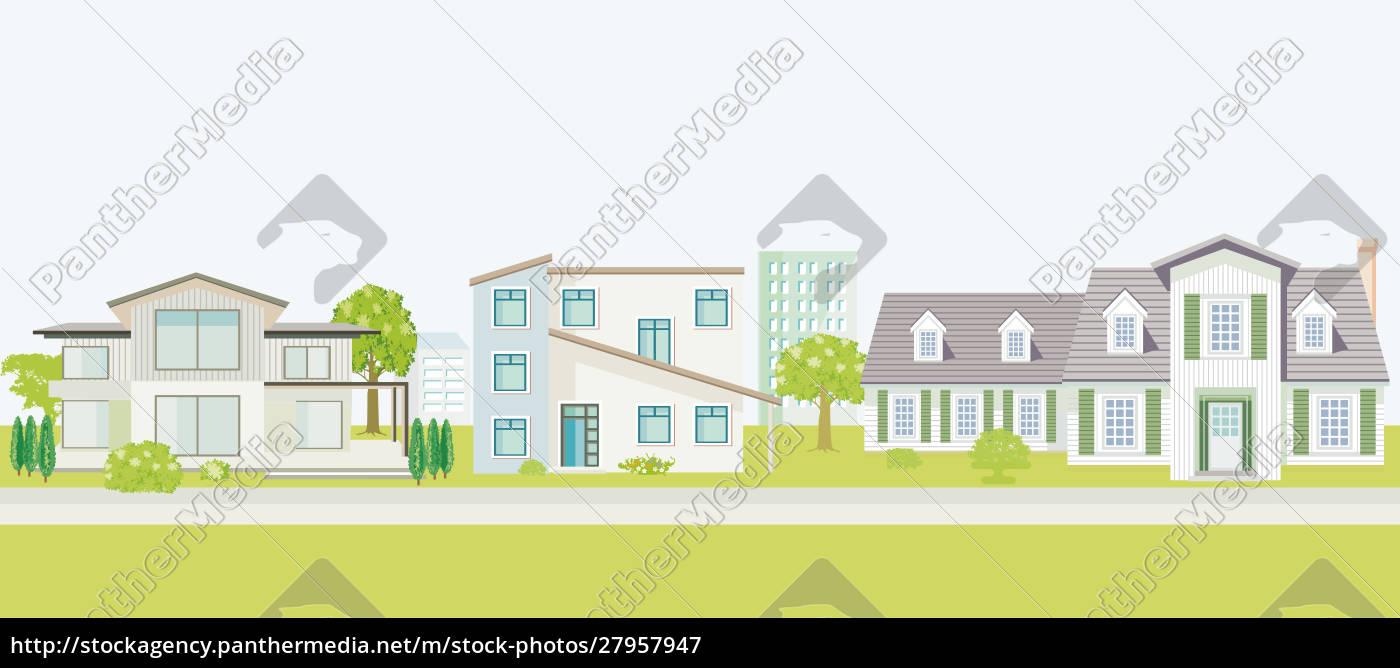 reihe, von, verschiedenen, einfamilienhäusern., haus, haus - 27957947