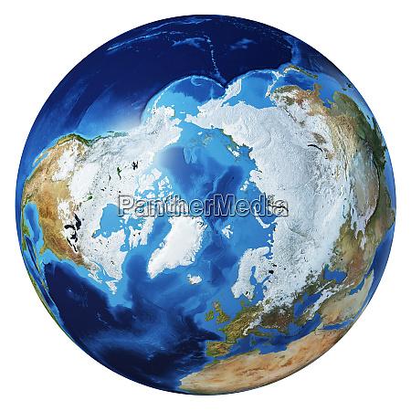 erde globus 3d illustration arktische ansicht