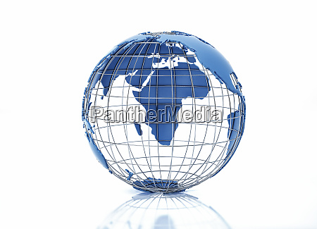 earth globe stylized with metal grid