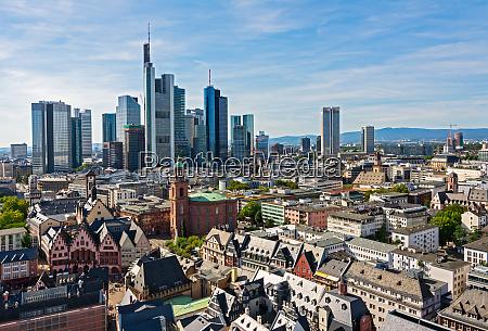 skyline of frankfurt with skyscrapers