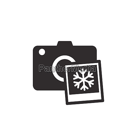 camera with winter snowflake photo black
