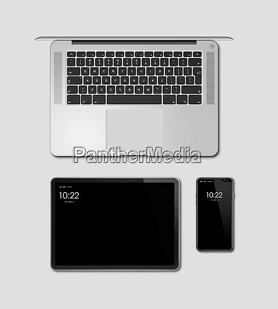laptop tablet und telefon set mockup