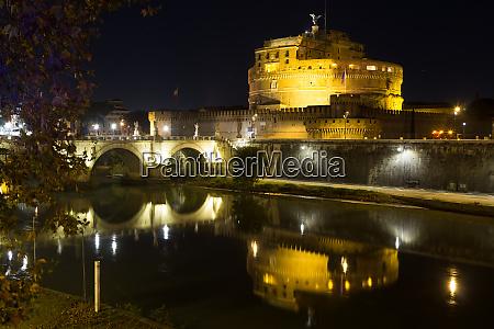 night scene of rome mausoleum of