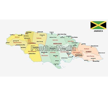 jamaika verwaltungskarte mit flagge und hauptstaedte