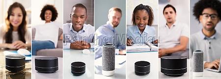 verwenden von sprachassistenten und intelligenten lautsprechern