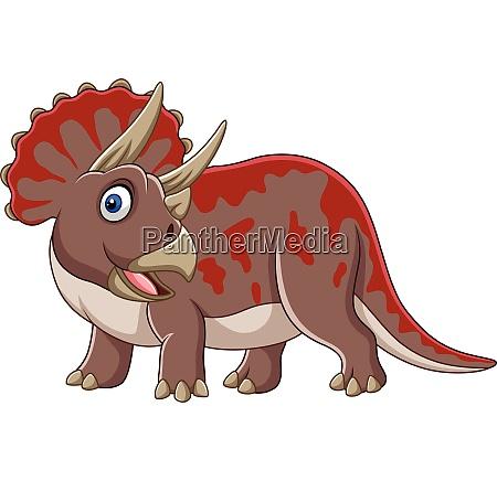 cartoon triceratops posiert isoliert auf weissem