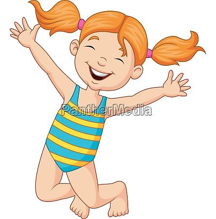 cartoon happy girl in a swimsuit