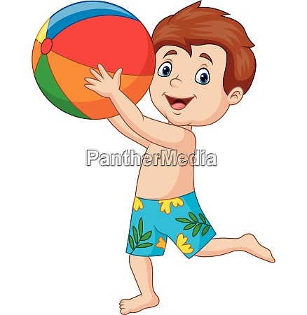 cartoon happy boy holding beach ball