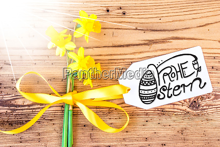 sunny narcissus flower label calligraphy frohe