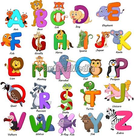 tiere alphabet auf weissem hintergrund eingestellt