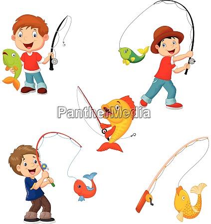 set von kleinen jungen angeln