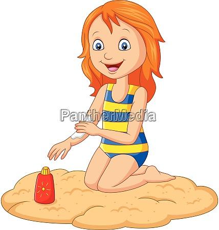 kleines maedchen in einem badeanzug der