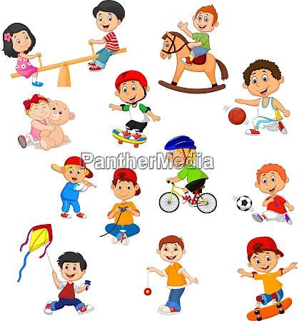 satz von kindern mit verschiedenen sportlichen