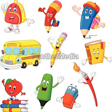 cartoon schule liefert sammlung set