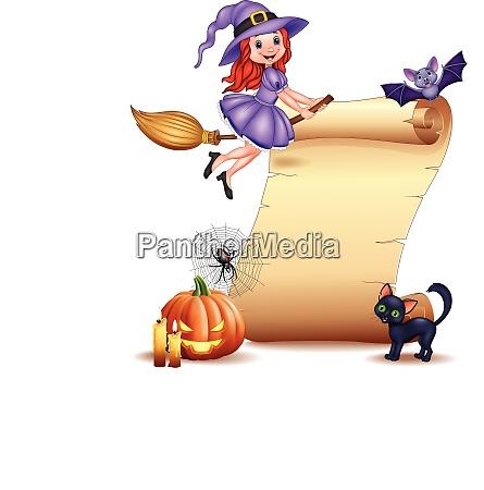 halloween zeichen mit kleinen hexe fledermaus
