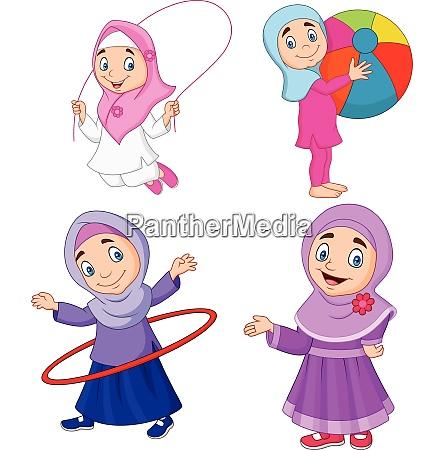 cartoon muslimische maedchen mit verschiedenen hobbys