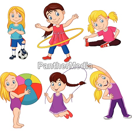 cartoon kleine maedchen mit verschiedenen hobbys
