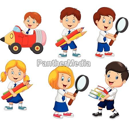 cartoon school children cartoon collection set
