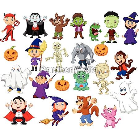 cartoon kinder mit halloween kostuem