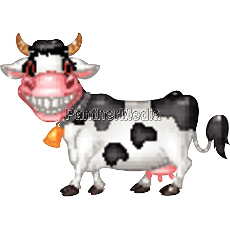 cartoon happy cow isolated on white