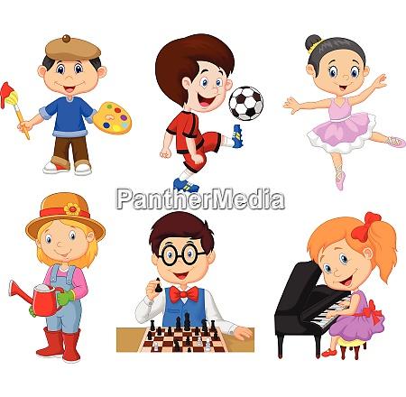 cartoon kinder mit verschiedenen hobbys auf
