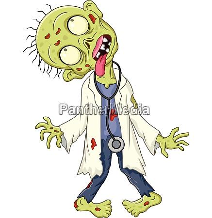 cartoon zombie arzt auf weissem hintergrund