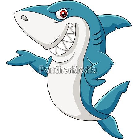cartoon hai winkt auf weissem hintergrund