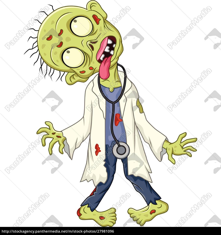 cartoon, zombie, arzt, auf, weißem, hintergrund - 27981096